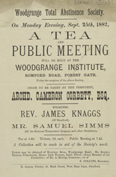 Advert for a Meeting of the Woodgrange Total Abstinence Society
